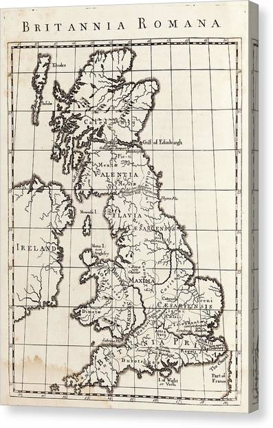 Briton Canvas Print - Map Of Roman Britain by Middle Temple Library