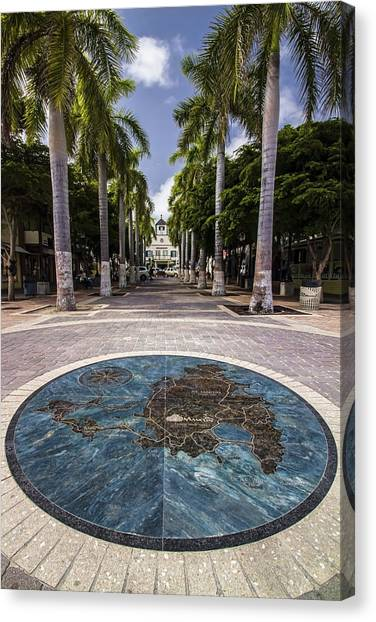 Map Of St. Maarten In The Boardwalk Canvas Print