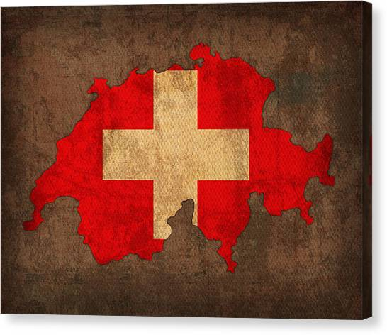 With Canvas Print - Map Of Switzerland With Flag Art On Distressed Worn Canvas by Design Turnpike