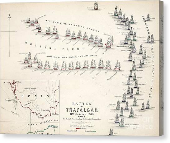 19th Century Canvas Print - Map Of The Battle Of Trafalgar by Alexander Keith Johnson