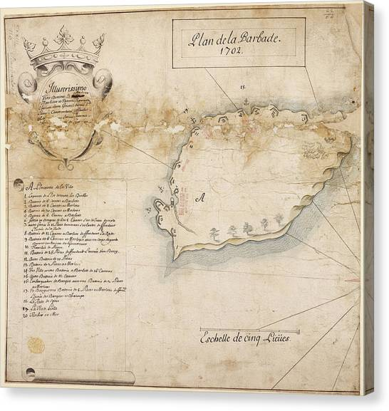 La League Canvas Print - Map Of The Island Of Barbados In 1702 by British Library