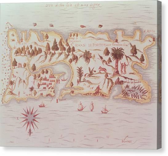 Puerto Canvas Print - Map Of The Island Of Puerto Rico by Samuel de Champlain