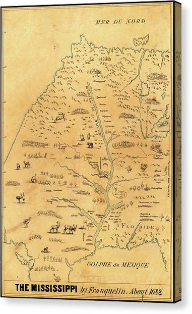 Marquette University Canvas Print - Map Of The Mississippi River by Library Of Congress, Geography And Map Division
