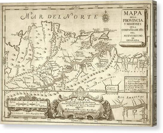 Venezuelan Canvas Print - Map Of The Orinoco River by Library Of Congress