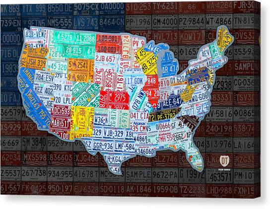 North American Canvas Print - Map Of The United States In Vintage License Plates On American Flag by Design Turnpike