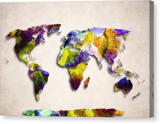 World map paint splashes canvas prints page 2 of 3 fine art america world map paint splashes canvas print map of the world abstract design by world gumiabroncs Choice Image