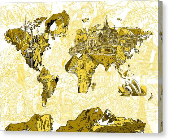 The Colosseum Canvas Print - Map Of The World Collage  by Bekim Art
