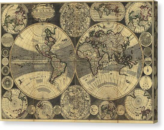 Celestial Sphere Canvas Print - Map Of The World by Library Of Congress, Geography And Map Division/science Photo Library