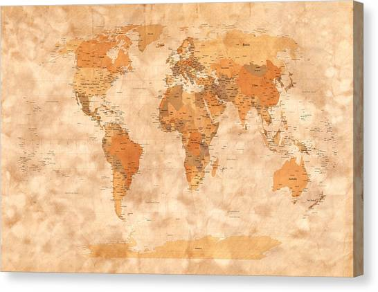 World Map Canvas Print - Map Of The World by Michael Tompsett
