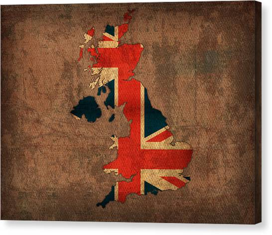With Canvas Print - Map Of United Kingdom With Flag Art On Distressed Worn Canvas by Design Turnpike
