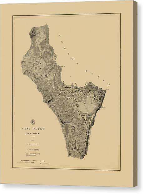 Map Of West Point 1883 Canvas Print