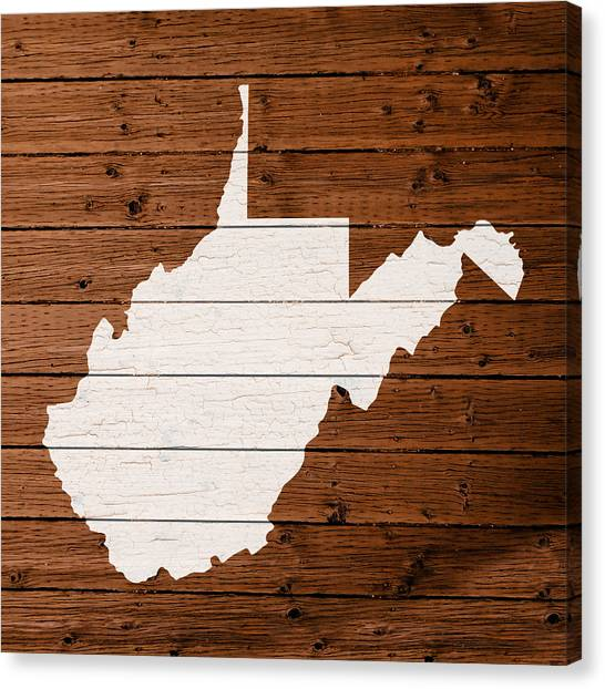 West Virginia Canvas Print - Map Of West Virginia State Outline White Distressed Paint On Reclaimed Wood Planks by Design Turnpike