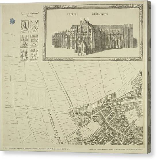 Westminster Abbey Canvas Print - Map Of Westminster In The City Of London by British Library