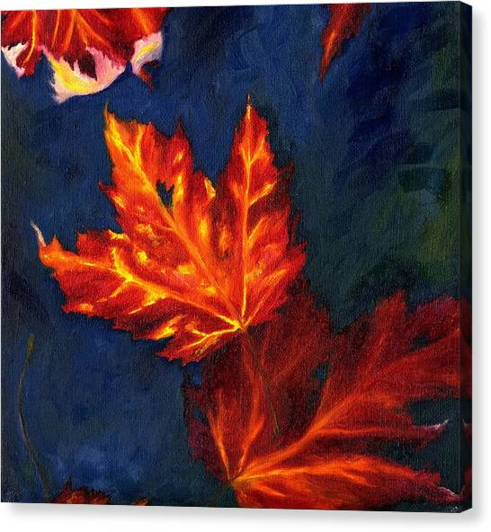 Canvas Print featuring the painting Maple Leaves In Autumn by MM Anderson