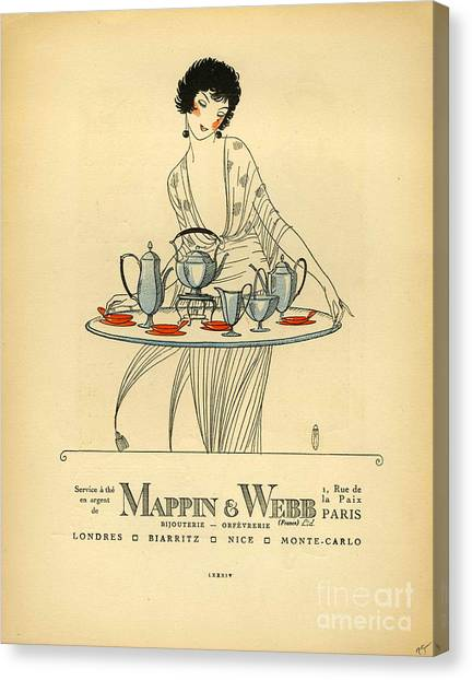Vintage Canvas Print - Mappin And Webb  1920s France Cc Tea by The Advertising Archives
