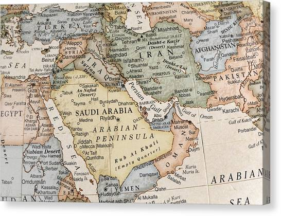 Maps Of Countries In Middle East Canvas Print by KeithBinns