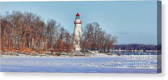 Marblehead Lighthouse In Winter Canvas Print