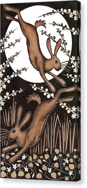 Printmaking Canvas Print - March Hares, 2013 Woodcut by Nat Morley