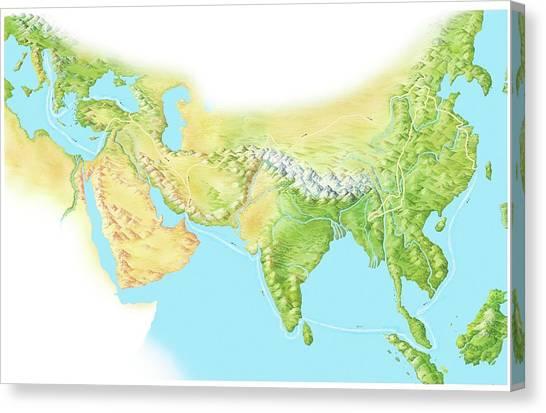 Polo Canvas Print - Marco Polo's Route by Gary Hincks