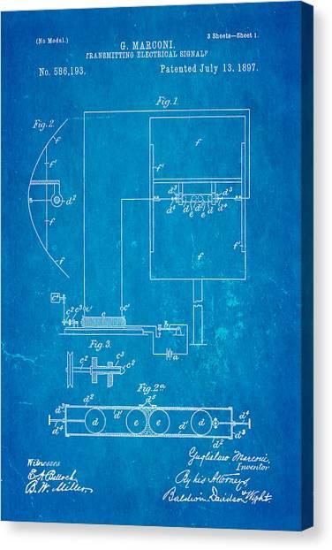 Electrical engineering art fine art america electrical engineering canvas print marconi radio patent art 1897 blueprint by ian monk malvernweather Images