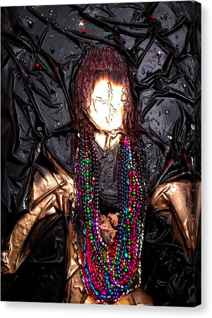 Mardi Gras Girl Finished Canvas Print