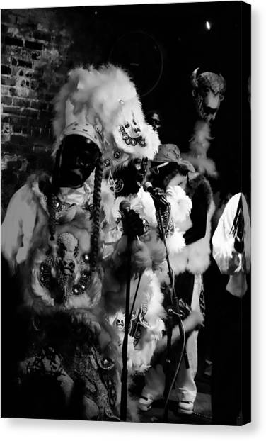 Mardi Gras Indians At The Gold Mine Saloon In New Orleans Canvas Print