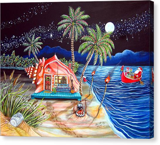 Shrimping Canvas Print - Margaritaville Conch Christmas by Abigail White