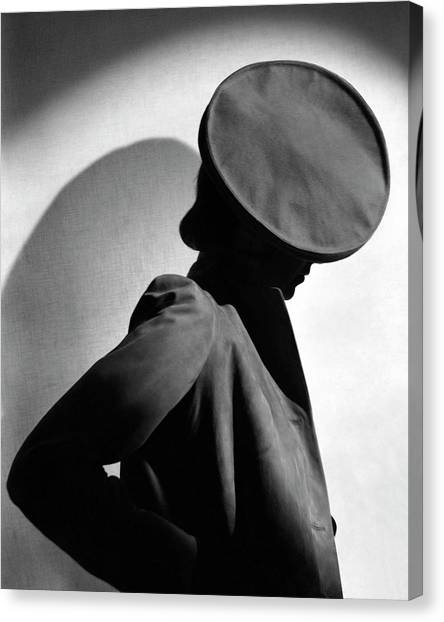 Margot Gaylor Wearing A Schiaparelli Beret Canvas Print