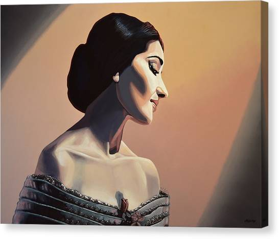 Greek Canvas Print - Maria Callas Painting by Paul Meijering