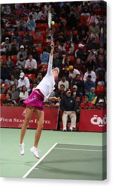 Maria Sharapova Canvas Print - Maria Sharapova Serves In Doha by Paul Cowan
