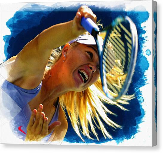 Maria Sharapova Canvas Print - Maria Sharapova  In Action During The Women's Singles  by Don Kuing