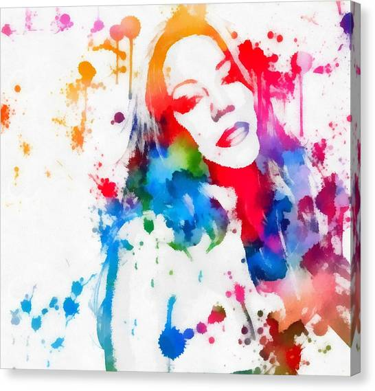 Mariah Carey Watercolor Paint Splatter Canvas Print