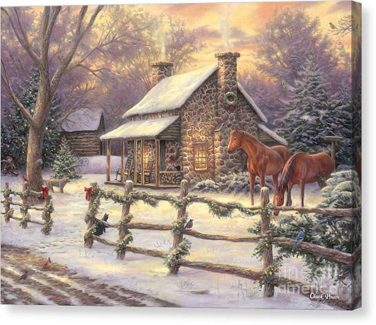 Christmas Lights Canvas Print - Marianne's Winter Hideaway by Chuck Pinson