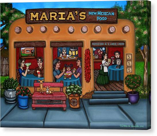 Salsa Canvas Print - Maria's New Mexican Restaurant by Victoria De Almeida