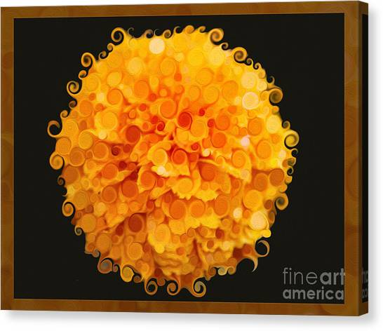 Canvas Print featuring the painting Marigold Magic Abstract Flower Art by Omaste Witkowski