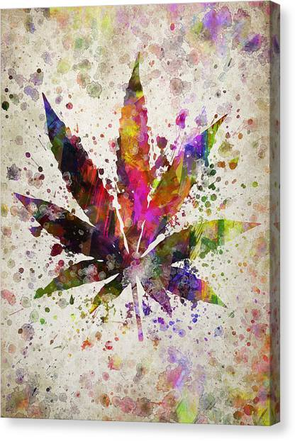 Marijuana Canvas Print - Marijuana Leaf In Color by Aged Pixel