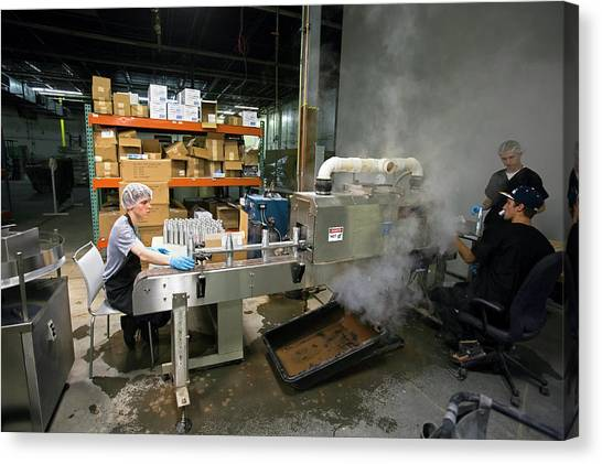 Protective Clothing Canvas Print - Marijuana Products Factory by Jim West