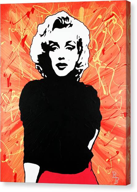 Marilyn Monroe - Red Drip Canvas Print