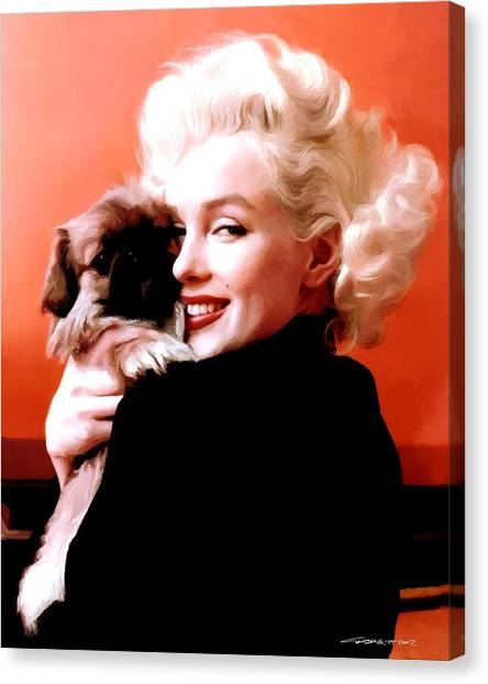 Marilyn Monroe And Pekingese Portrait Canvas Print