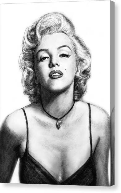 Marilyn Monroe Canvas Print - Marilyn Monroe Art Drawing Sketch Portrait by Kim Wang