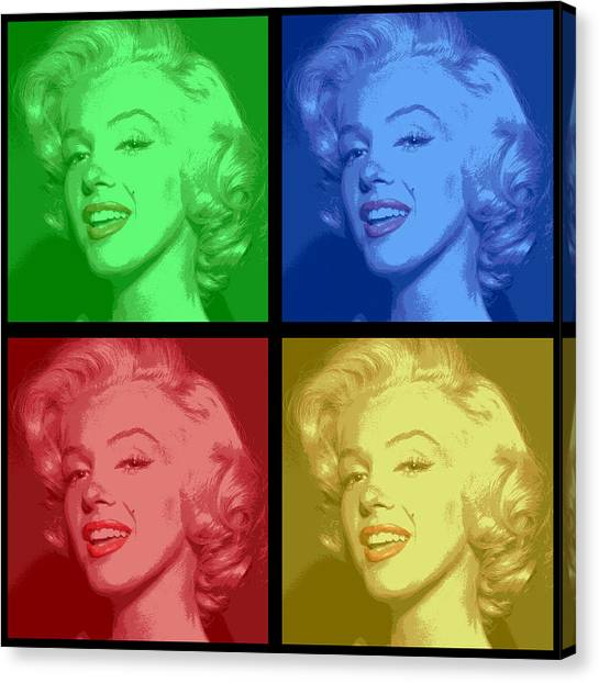 Beauty Mark Canvas Print - Marilyn Monroe Colored Frame Pop Art by Daniel Hagerman