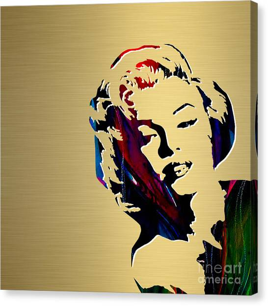 Hollywood Canvas Print - Marilyn Monroe Gold Series by Marvin Blaine