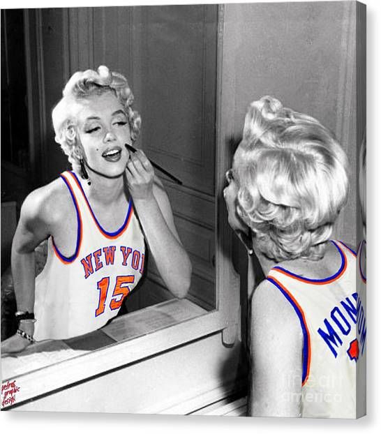 New York Knicks Canvas Print - Marilyn Monroe Nyk by Petros Graphic Design