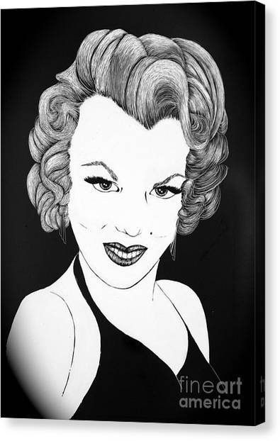 Marilyn Monroe- Scratch Bd Canvas Print by Linda Simon
