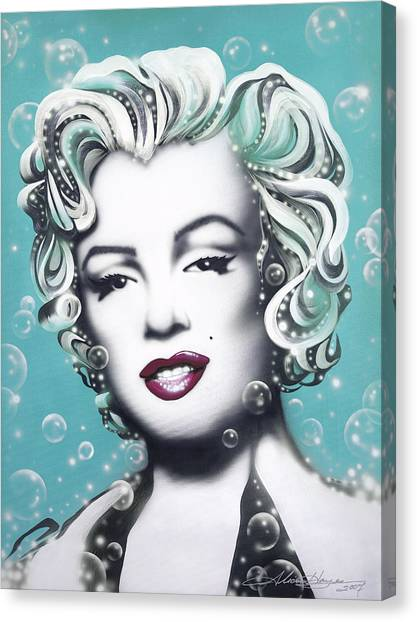 Marilyn Monroe Turquoise Canvas Print by Alicia Hayes