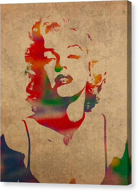 Monroe Canvas Print - Marilyn Monroe Watercolor Portrait On Worn Distressed Canvas by Design Turnpike