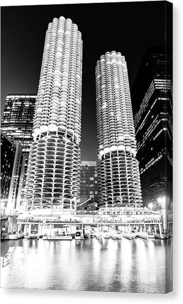 Chicago Black White Canvas Print - Marina City Towers At Night Black And White Picture by Paul Velgos
