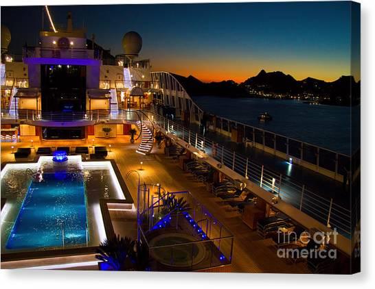 Cruise Ships Canvas Print - Marina Cruise Ship Pool Deck At Dusk by David Smith