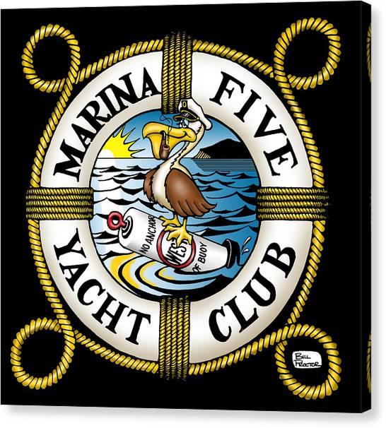 Canvas Print - Marina Five Yacht Club by Bill Proctor