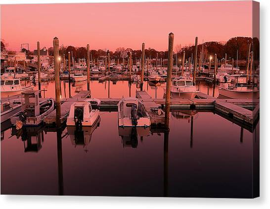 Boat Basin Canvas Print - Marina Golden Hour by Lourry Legarde